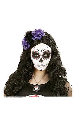 hoofdband paars/zwarte roos met glitter