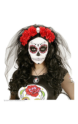 hoofdband rode roos met schedel en sluier