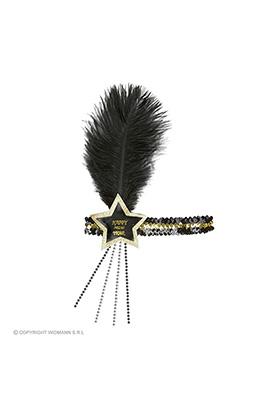 glitter hoofdbandje zwart/goud happy new year ster