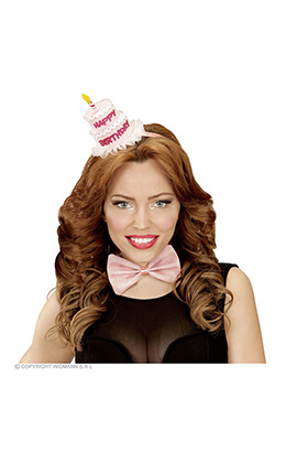 hoofdband met strikje happy birthday, 4 kleuren ass.