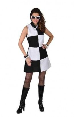 60's jurkje zwart wit