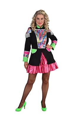 Carnavalsjas dames zwart/regenboog