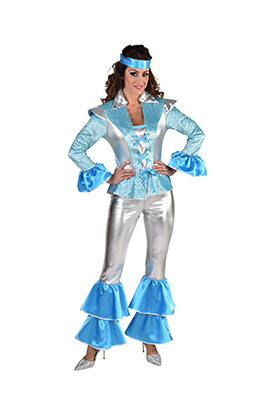 Abba kostuum zilver/blauw