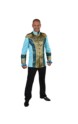 Carnavalsjas heren Turquoise/goud