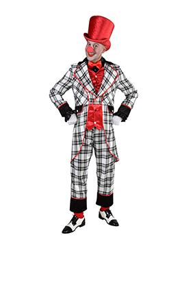 Clowns kostuum geruit zwart/wit