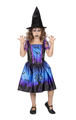 Heksenjurkje blauw/paars met print