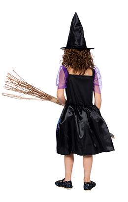 Halloween jurkje blauw/paars met print