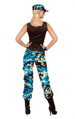 Camo girl camouflageprint blauw