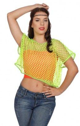 Netshirt neon-groen korte mouw