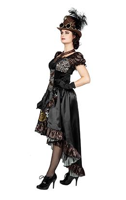 Steampunk jurk luxe zwart