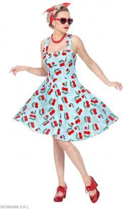 50's jurkje met petticoat kersen blauw