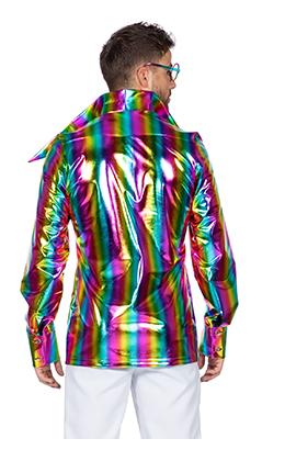 Foute Disco shirt regenboog