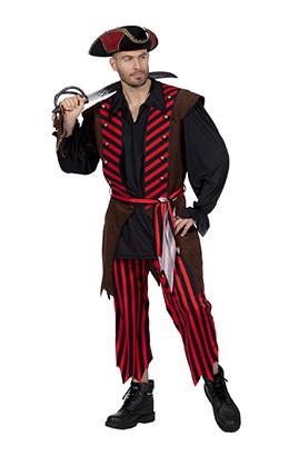 Piratenkostuum heren bruin/rood
