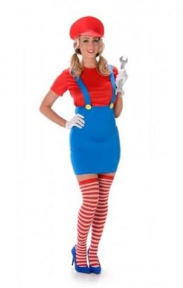 Blauw jurkje met rode pet