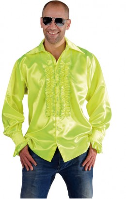 Ruches-blouse neon geel