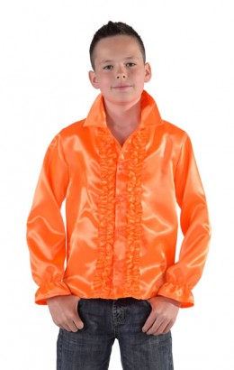 Ruches blouse oranje