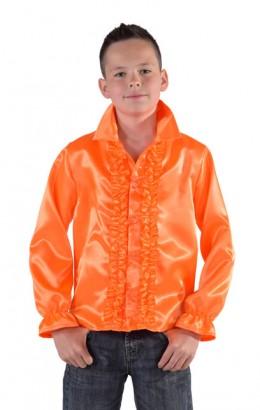 Ruches blouse oranje