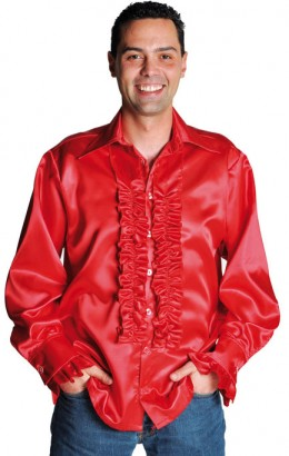 Ruches-blouse rood