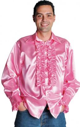 Ruches-blouse roze