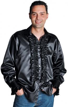 Ruches-blouse zwart