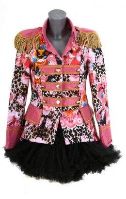 Carnavalsjasje luxe panterprint roze kort