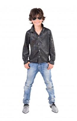 disco blouse pailletten zwart