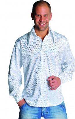 Disco blouse pailletten wit met zilver