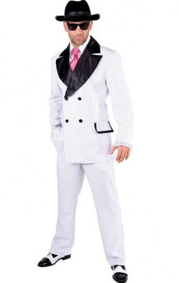 Maffia kostuum streep wit
