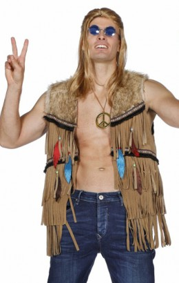 Hippie/indianen vest heren