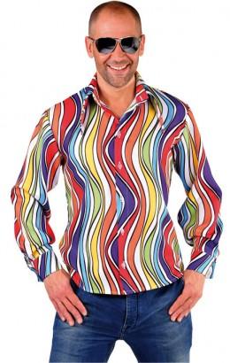 Hippie shirt 70s regenboog