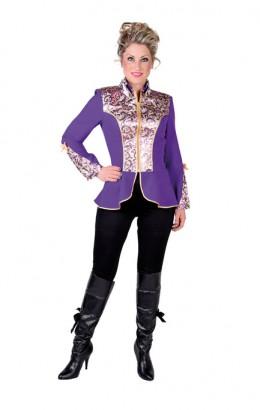 Carnavalsjas luxe brokaat paars