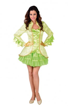 Carnavalsjasje luxe brokaat lime groen