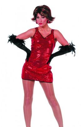Pailletten jurkje Patty rood