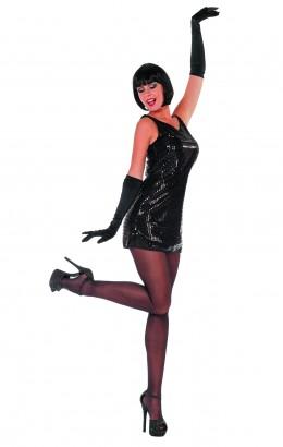 Pailletten jurkje Patty zwart