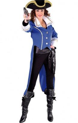 Piraten jas dame blauw