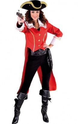 Piraten jas dame rood