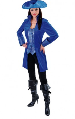 Jas piraat velours blauw