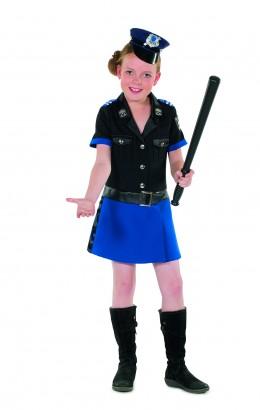 Politie meisje blauw/zwart