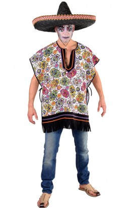 halloween poncho mexican skull