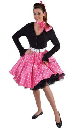 Rock en roll rok roze met stippen