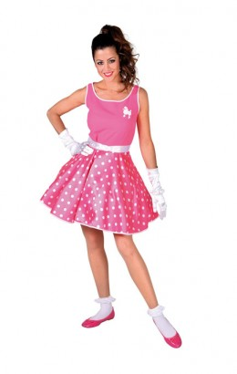 Rock en roll jurkje roze met stippen