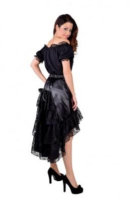 Luxe rok met kant en strik zwart