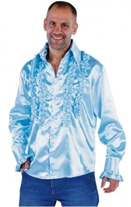 Ruches-blouse getailleerd licht blauw