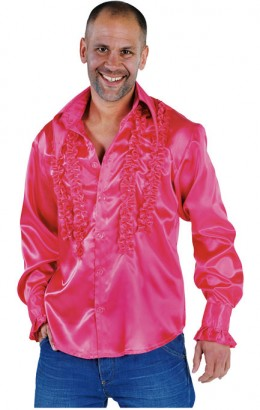 Ruches-blouse getailleerd fuchsia