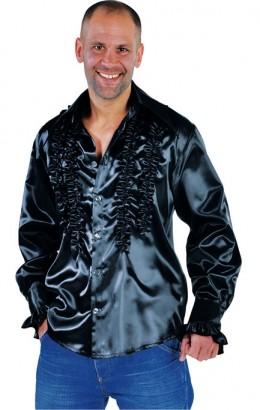Ruches-blouse getailleerd zwart