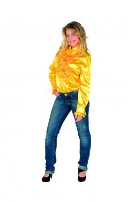 Ruchesblouse geel