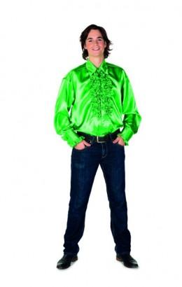 Ruchesblouse satijn groen