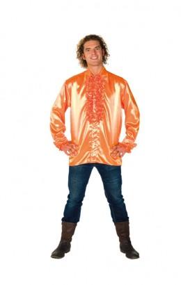 Ruchesblouse satijn oranje