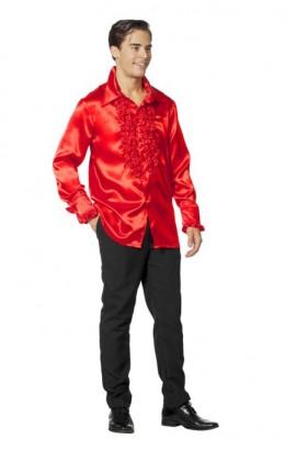 Ruchesblouse satijn rood