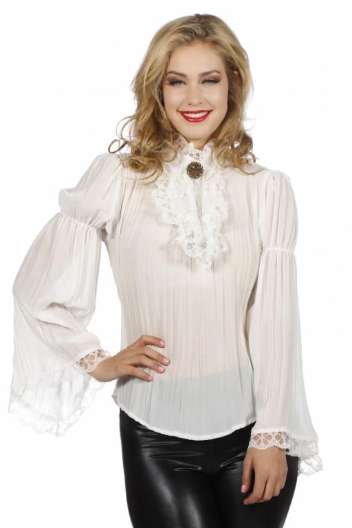 Steampunk blouse ecru